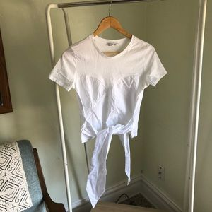 Zara crop tie blouse